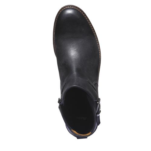 Scarpe di pelle alla caviglia. bata, nero, 894-6107 - 19