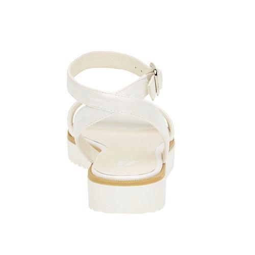 Sandali con flatform con strass mini-b, bianco, 361-1165 - 17