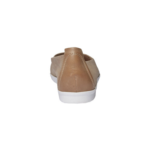 Ballerine di pelle con perforazioni bata-light, marrone, 526-3486 - 17