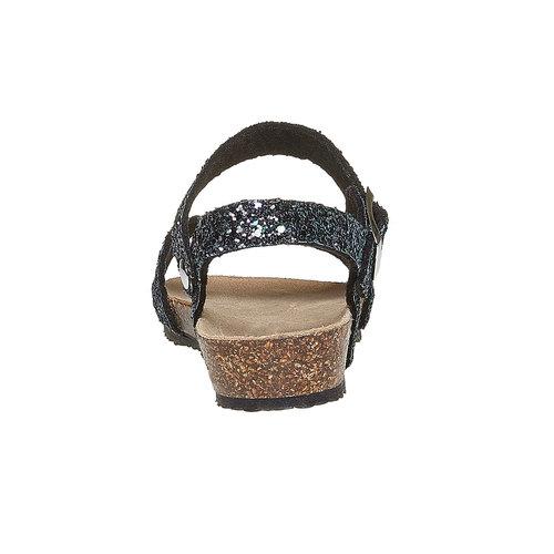 Sandali con glitter e suola di sughero mini-b, nero, 369-6189 - 17