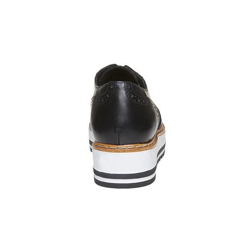 Scarpe basse di pelle con flatform bata, nero, 524-6255 - 17