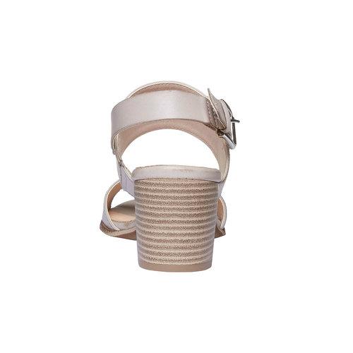 Sandali di pelle con tacco ampio bata, grigio, 664-2205 - 17