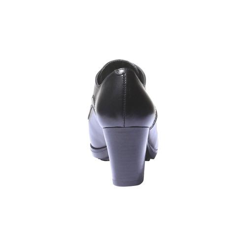 Scarpe basse da donna in pelle con tacco bata, nero, 724-6792 - 17