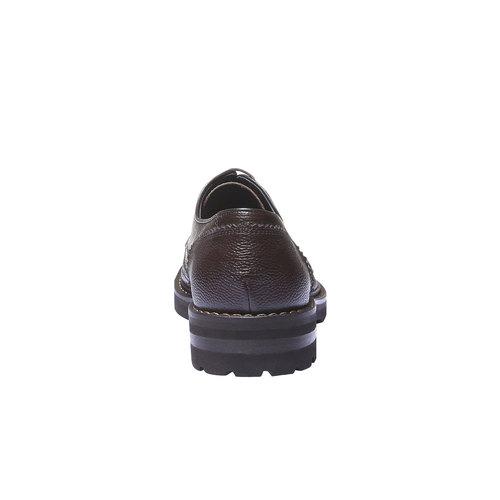 Scarpe basse di pelle in stile Derby bata, marrone, 824-4384 - 17