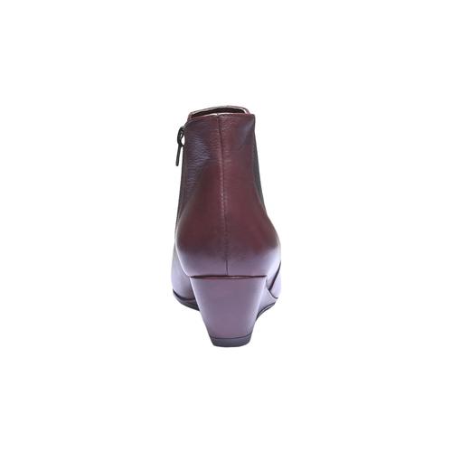 Scarpe di pelle alla caviglia con zeppa bata, rosso, 694-5172 - 17