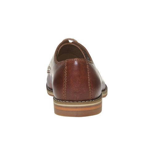 Scarpe basse di pelle in stile Derby bata, marrone, 824-4745 - 17