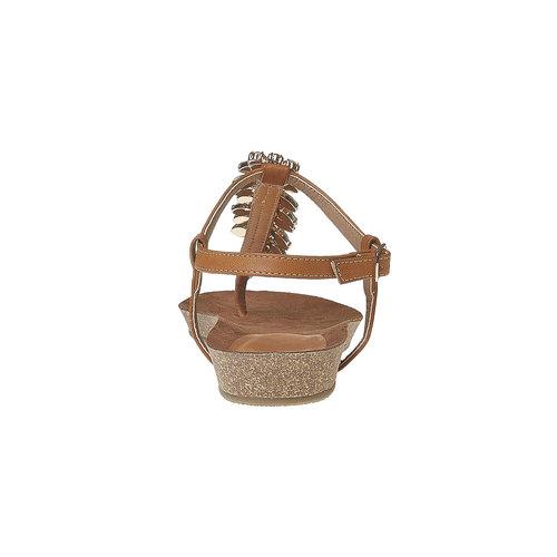 Sandali da donna con strass sul collo del piede bata, marrone, 561-3379 - 17