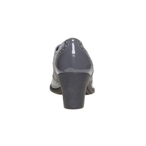 Scarpe basse da donna in pelle con tacco flexible, grigio, 623-2155 - 17