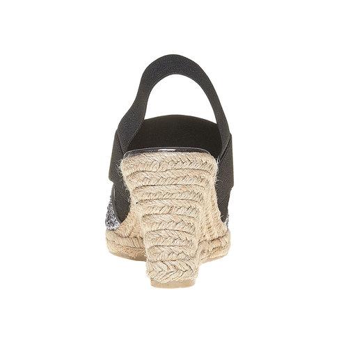 Sandali con tacco a zeppa e glitter bata, nero, 769-6548 - 17