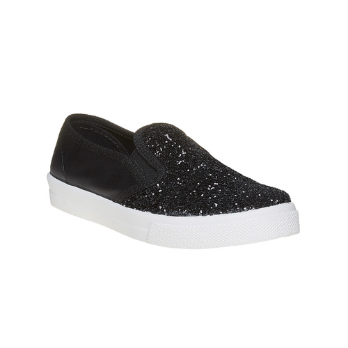 Slip-on da ragazza con glitter north-star, nero, 329-6235 - 13