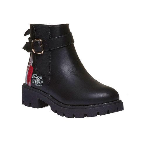 Scarpe alla caviglia con suola appariscente violetta, nero, 391-6204 - 13