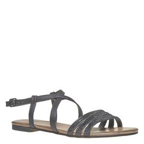 Sandali da donna con strass bata, nero, 561-6319 - 13