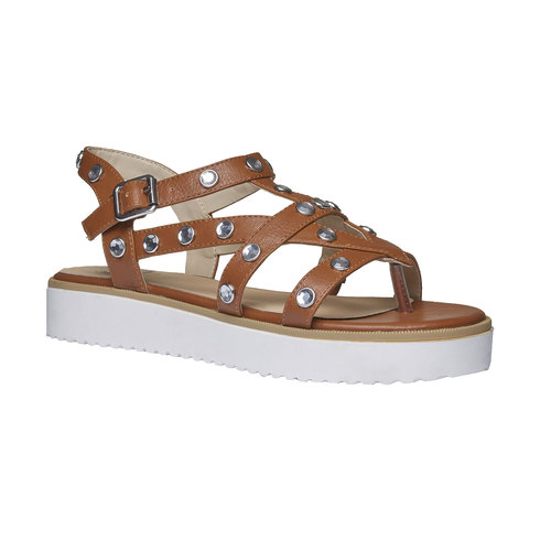 Sandali da donna con strisce e flatform bata, marrone, 561-3225 - 13