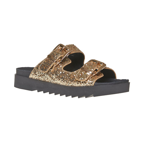 Slip-on da donna con paillettes dorate bata, giallo, 561-8309 - 13