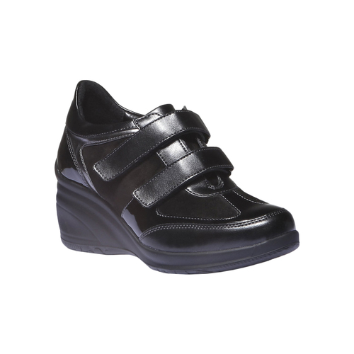 Sneakers in pelle con zeppa bata, nero, 621-6105 - 13