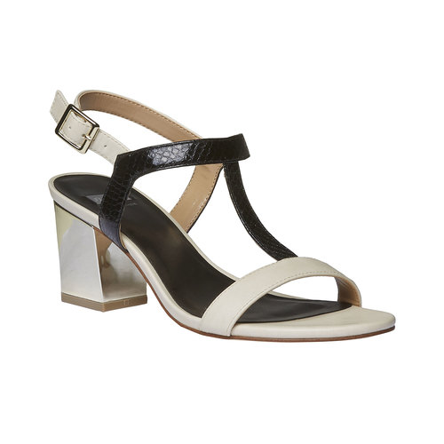 Sandali dal tacco ampio bata, nero, 761-6408 - 13