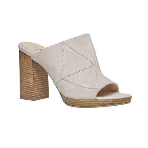 Slip-on da donna in pelle bata, beige, 763-8516 - 13