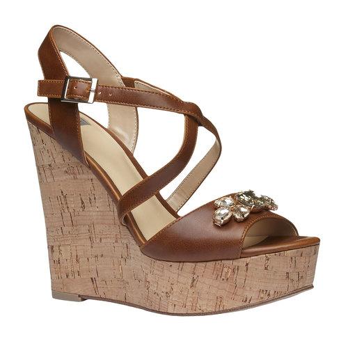 Sandali da donna con plateau bata, marrone, 761-4545 - 13