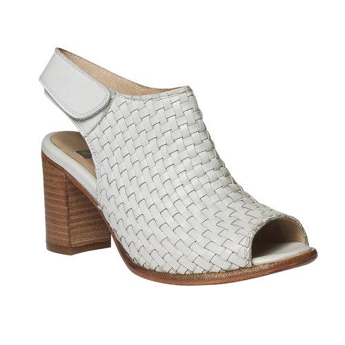 Sandali di pelle dal tacco ampio bata, bianco, 764-3434 - 13