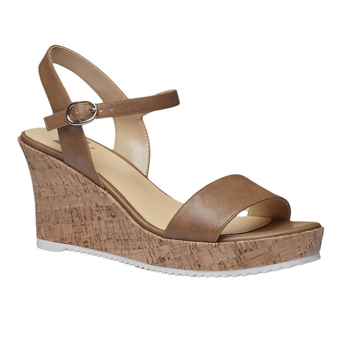 Sandali da donna con plateau bata, marrone, 761-4523 - 13