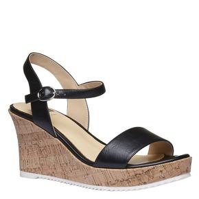Sandali da donna con plateau bata, nero, 761-6523 - 13