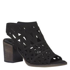 Sandali da donna in pelle con tacco bata, nero, 763-6532 - 13