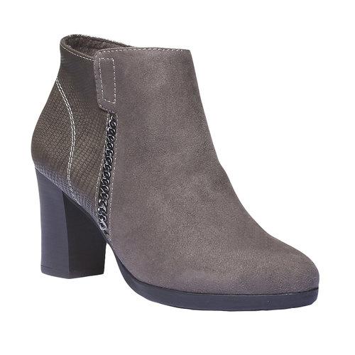Scarpe da donna alla caviglia bata, grigio, 791-2403 - 13