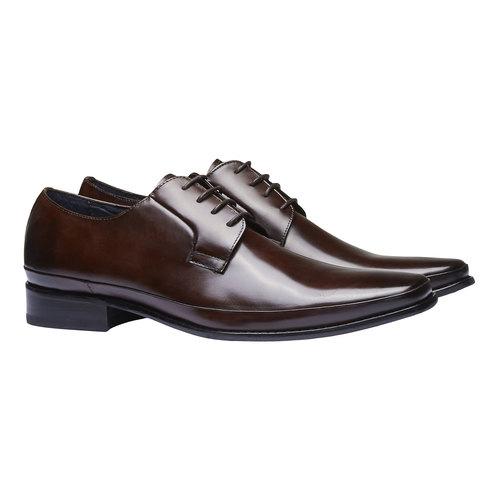 Scarpe basse di pelle in stile Derby bata, marrone, 824-4550 - 26