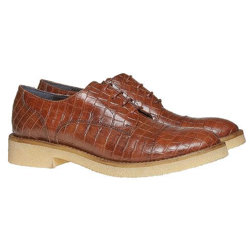Scarpe basse da donna con effetto pelle di coccodrillo bata, marrone, 521-3317 - 26