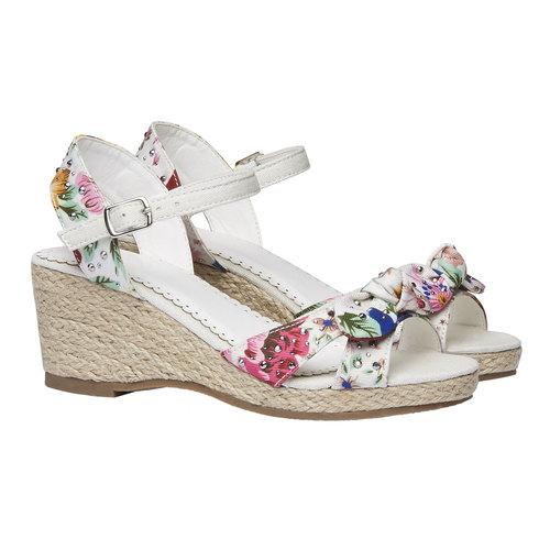 Sandali da bambina con plateau mini-b, bianco, 369-1168 - 26