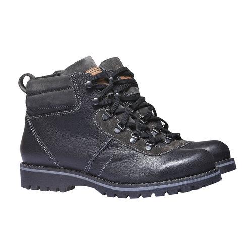 Scarpe di pelle alla caviglia bata, nero, 894-6343 - 26
