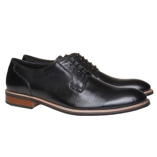 Scarpe basse da uomo in pelle in stile Derby bata, nero, 824-6280 - 26