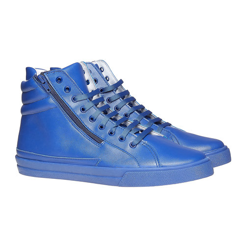 Sneakers da uomo in pelle con cerniere north-star, blu, 841-9503 - 26