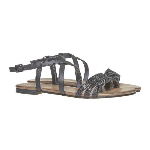 Sandali da donna con strass bata, nero, 561-6319 - 26