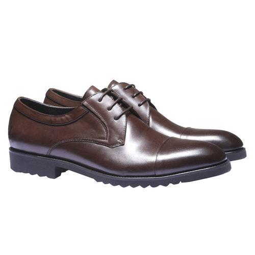 Scarpe basse in pelle in stile Derby bata, marrone, 824-4398 - 26