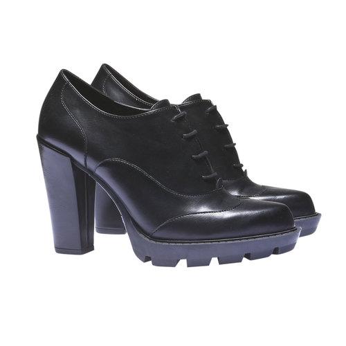 Scarpe basse da donna con tacco alto bata, nero, 721-6900 - 26