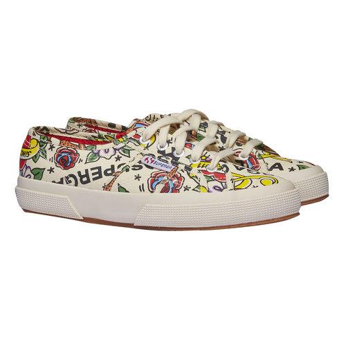 Sneakers con stampa colorata superga, bianco, 589-1219 - 26