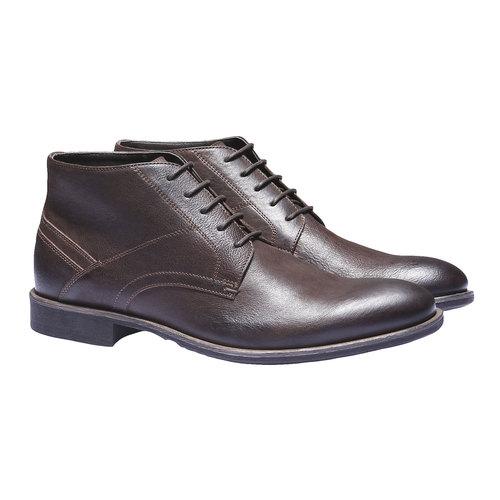 Scarpe di pelle alla caviglia bata, marrone, 894-4178 - 26