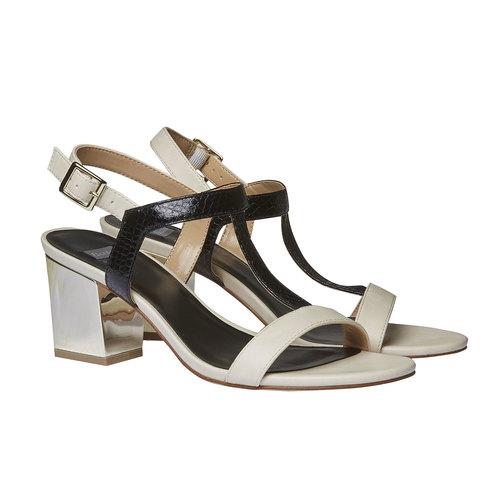 Sandali dal tacco ampio bata, nero, 761-6408 - 26