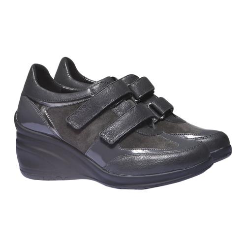 Sneakers in pelle con zeppa bata, grigio, 624-2105 - 26