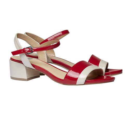 Sandali da donna con tacco basso bata, rosso, 661-5112 - 26