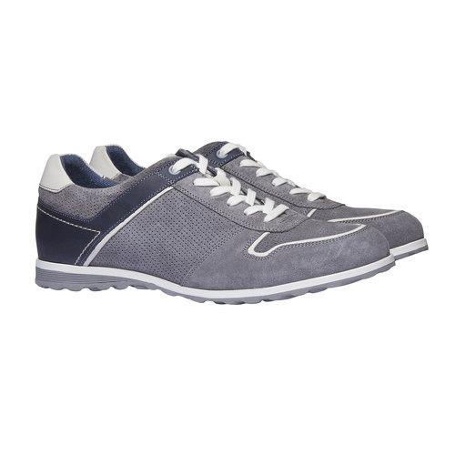 Sneakers da uomo in pelle bata, grigio, 843-2637 - 26