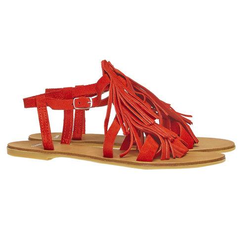 Sandali di pelle con nappe bata, rosso, 563-5130 - 26
