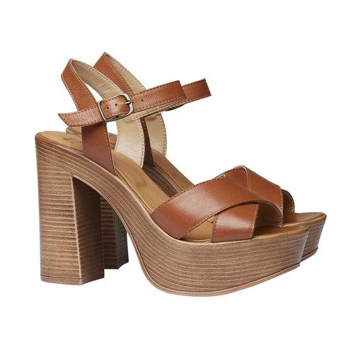 Sandali da donna con strisce di pelle bata, marrone, 764-4511 - 26