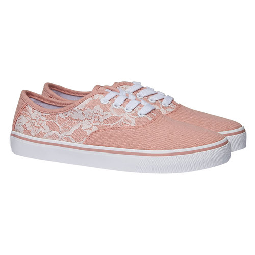 Sneakers con pizzo north-star, rosa, 549-5222 - 26