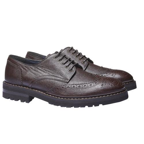 Scarpe basse di pelle in stile Derby bata, marrone, 824-4384 - 26