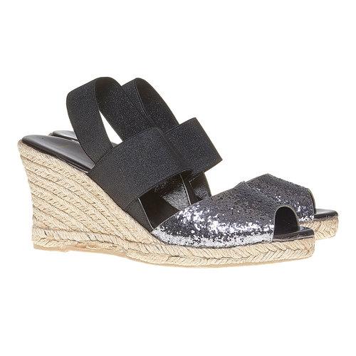 Sandali con tacco a zeppa e glitter bata, nero, 769-6548 - 26