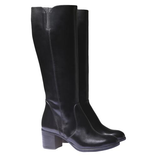 Stivali di pelle con tacco basso bata, nero, 794-6184 - 26