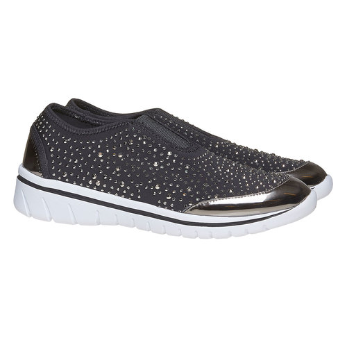 Sneakers slip-on con strass north-star, grigio, 539-2109 - 26