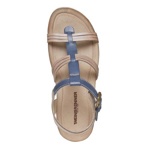 Sandali da donna in pelle weinbrenner, blu, 564-9315 - 19